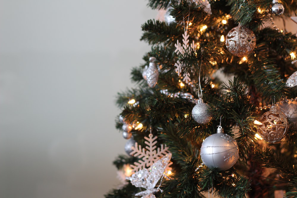 Christmas tree with ornaments and lighting