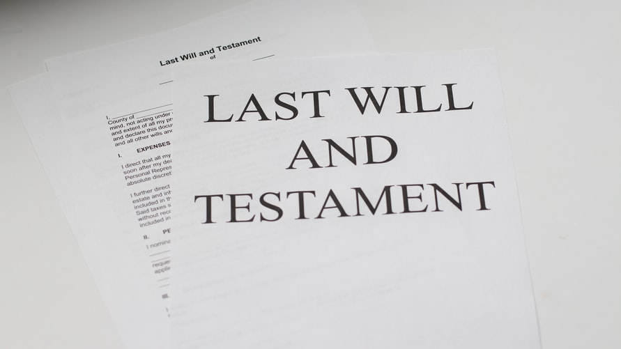 a paper saying 'last will and testament'